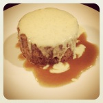 English Toffee Pudding Cake with Vanilla Bean Creme Anglaise